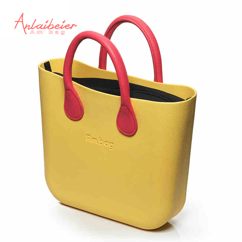 ANLAIBEIER Mini Mid AMbag with black Insert Lining and Colorful Handles  Obag St
