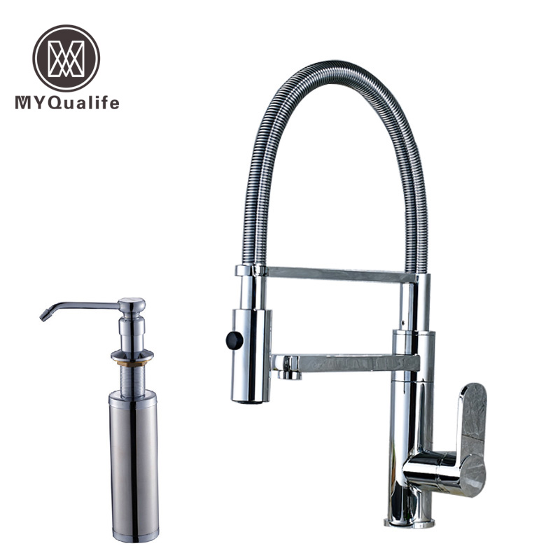 Polished Chrome Deck Mounted Bathroom Kitchen Faucet Tap Single Handle with Brass Soap Dispenser free shipping brass black liquid soap dispenser bathroom kitchen stainless steel touch soap dispenser wall mounted 1000ml