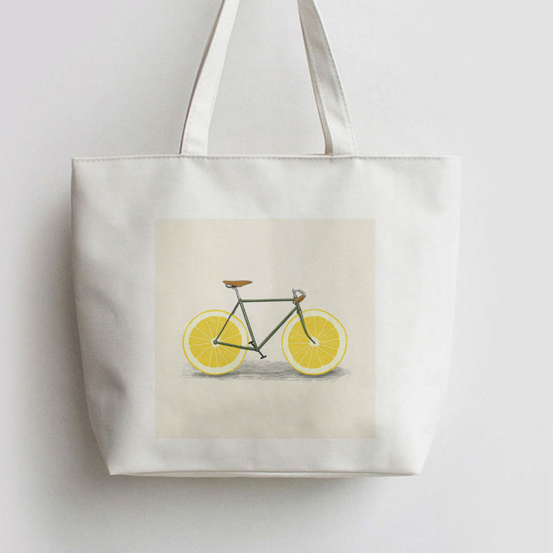 Lemon Bicycle Japanese Anime Canvas Tote Bag Cartoon Shopping Bags School Shoulder Reusable Shopper AN245