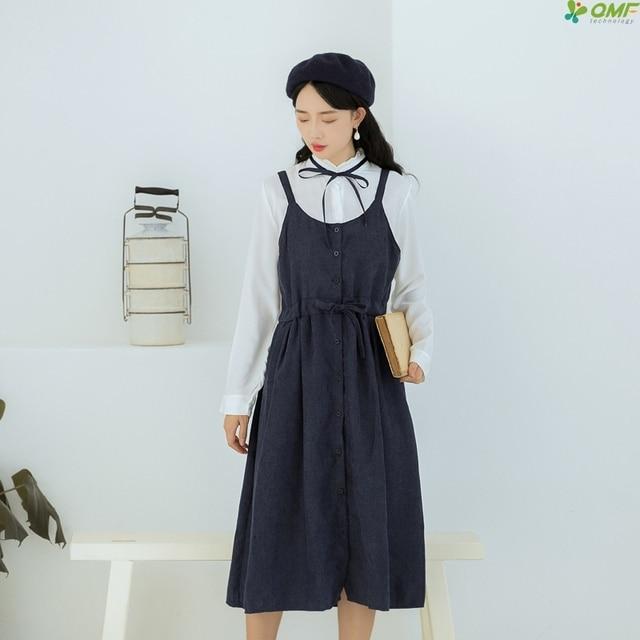 Korean Style Corduroy Dress Solid Color Spaghetti Strap Dress Plus Size  Japan Vestidos Mujer 2018 Autumn Winter Dress Mori Girl 9dd478745582