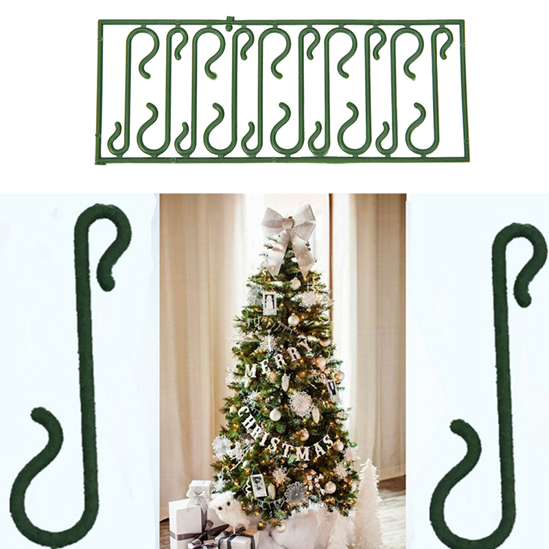Merry Christmas Tree Green S Shaped Hanging Hooks Wire Xmas Decoration Ornaments Supplies ...