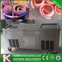 CE Certification Double square pans 3 Compressors roll Fried Ice Cream Make machine with temperature control (free ship)