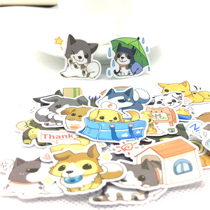 Us 1 35 42 Off 40 Pcs Lot Funny Little Wolf Dog Paper Sticker Decal For Phone Laptop Bicycle Notebook Backpack Kids Toy Stickers Scrapbooking In