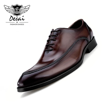 2019 Luxury Genuine Leather Mens Shoes Business British Style Pointed Teo Handmade for Men