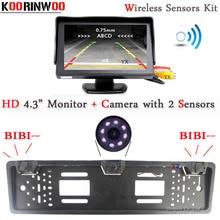 Koorinwoo UE Wireless Sensori di parcheggio 2 Parktronic Europea Della Pagina della Targa macchina fotografica di retrovisione Kit Allarme Dell'automobile del Monitor Dello Specchio