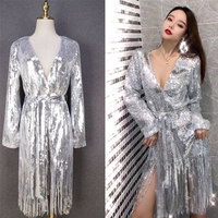 2019 Spring Autumn Dress Women Clothes New V neck Silver Vestido Long sleeved Tassel Sequin Dresses Party Sexy Ladies