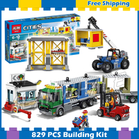 829pcs New City Town Cargo Terminal Trailer Truck 02082 Model Building Blocks Children Holiday Gifts sets Compatible With lego
