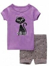Купить с кэшбэком Purple Cat Girls Clothes Sets 2y-7y Girl Summer Pajamas 2019 Short Sleeve T-Shirt Pant Set Children's Pijamas