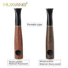 MUXIANG Handmade Wood Tobacco Pipe Straight Stem Small Porta
