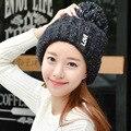 El Otoño Invierno Señora Sombrero sombrero de punto de Corea carta título al margen Nagymaros bola de lana de cachemira térmica curling Gorra