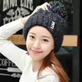 The Autumn Winter Hat Lady Korean knitted hat letter sidehead Nagymaros ball of wool cashmere thermal curling Hat Cap