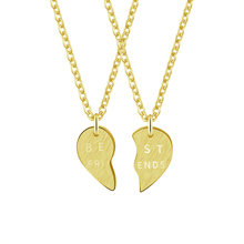 GORGEOUS TALE 2017 Stainless Steel Romantic Peach Heart Combination BEST FRIENDS Letter Gold  Pendant Necklace Set N00109 friends f12 stainless steel combination lock silver