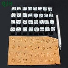 32 estilos Metal estampado herramienta de perforación para tallado de cuero herramientas de sello DIY cuero curtido artesanía impresión de sellos de Punch Set patrones