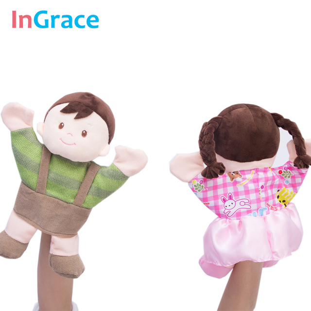 InGrace Child Puppet lifelike baby early learning hand puppet boy and girl first gift high quality plush puppets for children