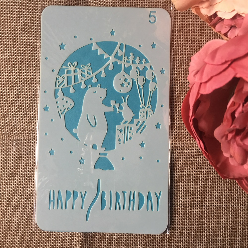 1Pcs 4x7inch Bear Birthday DIY Layering Stencils Painting Scrapbook Coloring Embossing Album Decorative Card Template