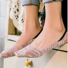 New Arrived Women Sock Slippers Socks Of Hidden Flat Boat Line Casual Invisible Ankle Low-Cut Sock Stripe Colorful For Summer