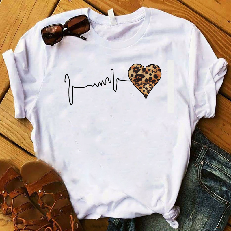 2019 Women Shirt Leopard Love Cute Fashion Summer Women Graphic Printed Top Short Sleeve Tshirt Female Womens T T-shirt