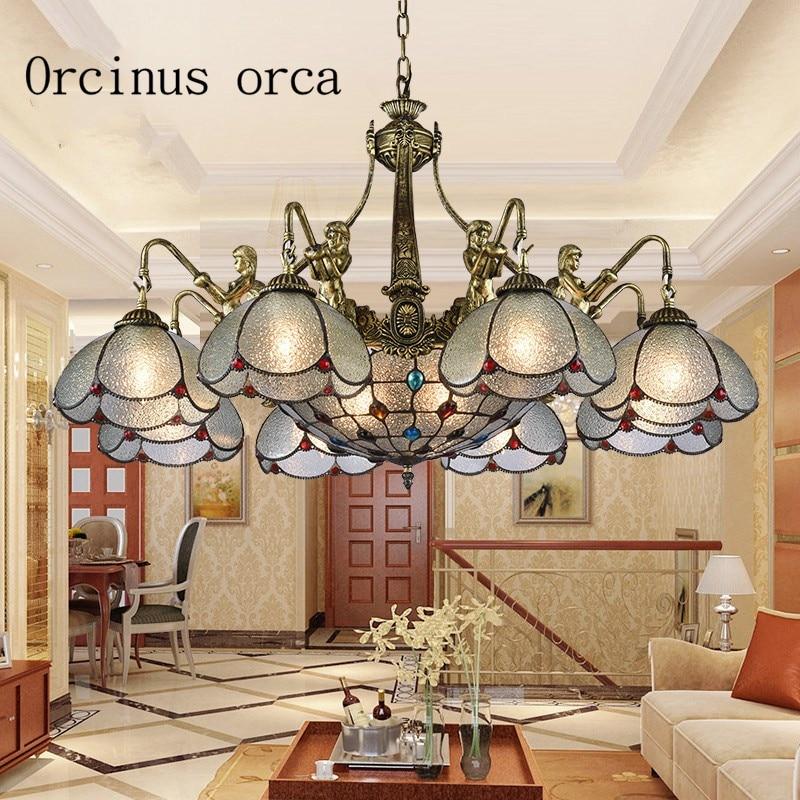 купить European style luxury retro chandelier living room Mediterranean style rural glass chandelier free shipping недорого