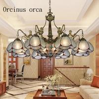 European style luxury retro chandelier living room Mediterranean style rural glass chandelier free shipping