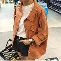 2016 nova Primavera moda outono tamanho grande Harajuku cor mulher casaco denim clássico botões outwear bolso soltas das Mulheres magras jaqueta