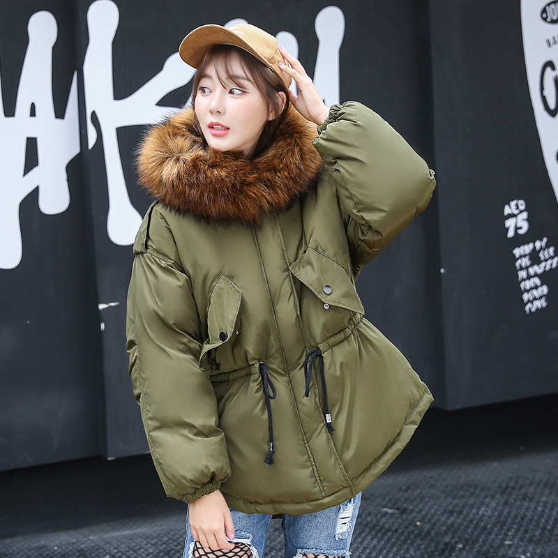 Large Faux Raccoon Fur Collar Winter Jacket Women Thick Padded Cotton Warm Coat 2017 Girl Winter Coat Outerwear Overcoat faux rabbit fur brown mr short jacket sleeveless with big raccoon collar fall coat