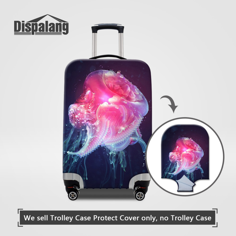 Dispalang Jellyfish Printed Luggage Protective Covers Elastic Anti-theft Suitcase Covers For 18-30 Inch Case Zipper Closure