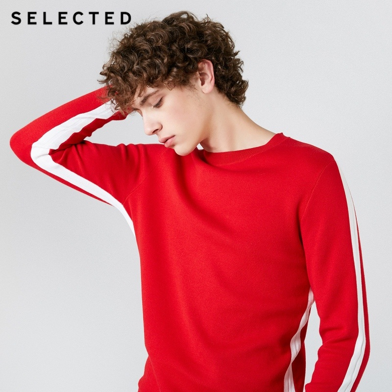 SELECTED Men's 100% Cotton Round Neckline Assorted Colors Knitted Sweater S|419124533