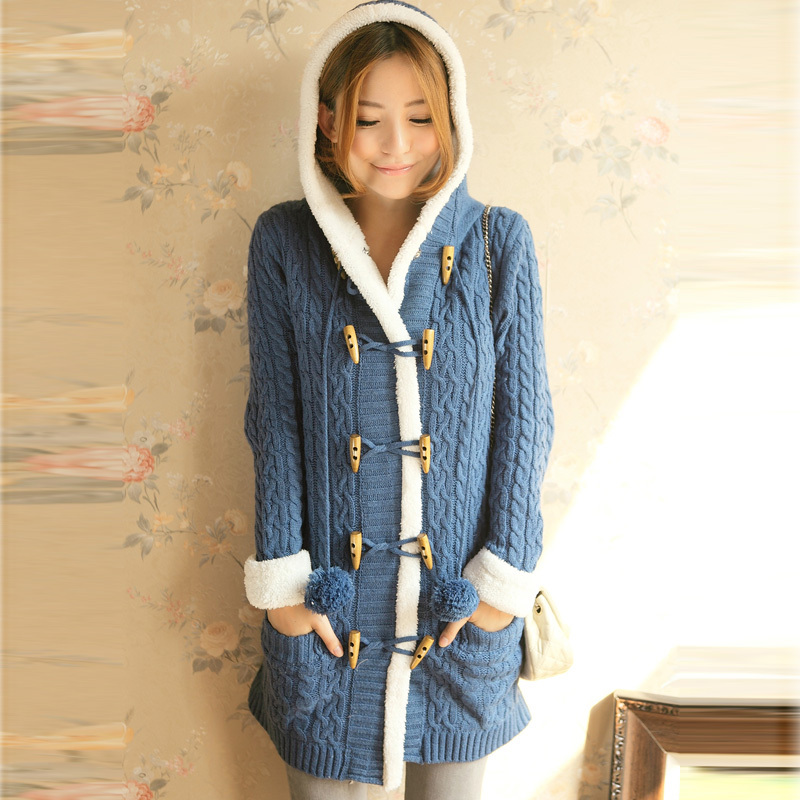 Women Cute Long Warm Winter Coat Long Sleeve Double breast ...
