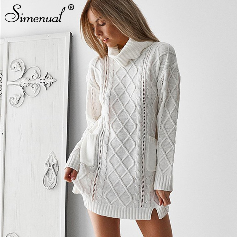Simenual Pocket Turtleneck Sweater Dress 2018 Winter Twist Fashion White Long Jumper Knitwear Slit Women Sweaters And Pullovers