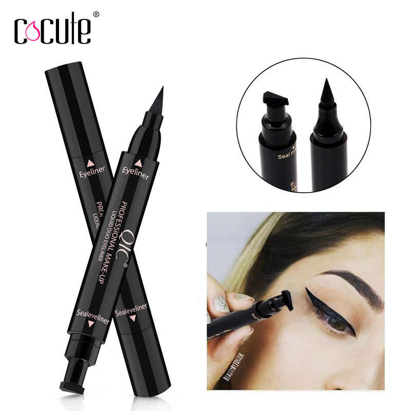 1Pcs Double-Headed Seal Stamp Eyeliner Pencil Waterproof 2 in 1 Black Eyeliner Stamp Winged Pencil Makeup Liquid Eye Liner