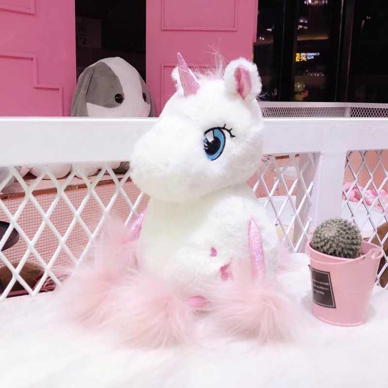 Peluche Kawaii suave unicornio encantador unicornio con cola larga de peluche juguetes de bebé para niños Regalo de Cumpleaños creativo para niñas amigas