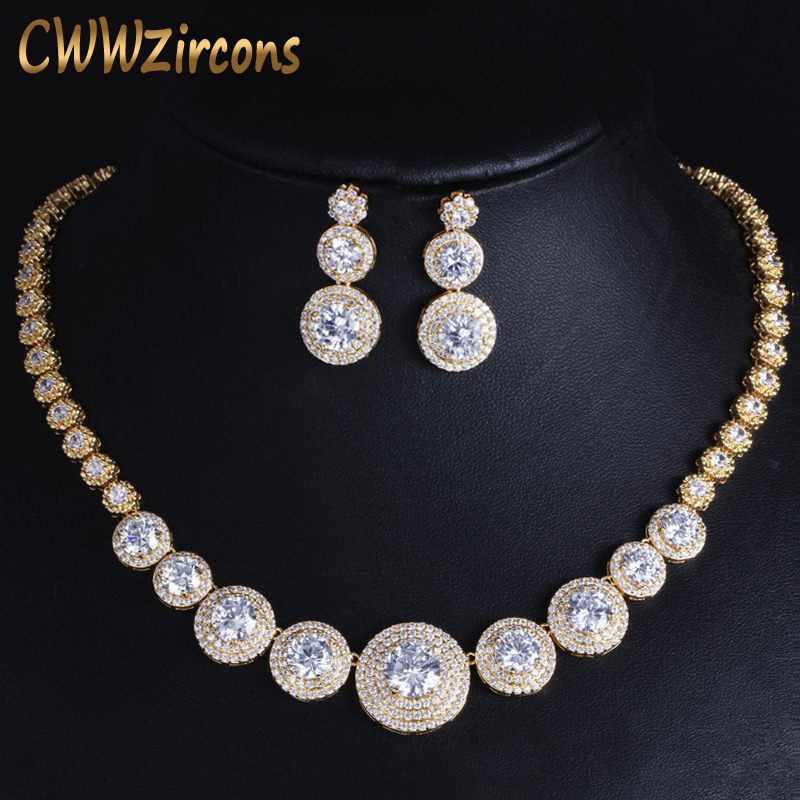 CWWZircons Gorgeous African Cubic Zirconia Luxury Dubai Arab Gold Color Filled Wedding Necklace Earrings Jewelry Sets