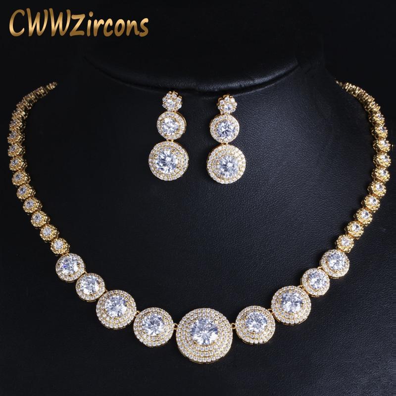 CWWZircons Gorgeous African Cubic Zirconia Luxury Dubai Arab Gold Color Filled Wedding Necklace Earrings Jewelry Sets T319CWWZircons Gorgeous African Cubic Zirconia Luxury Dubai Arab Gold Color Filled Wedding Necklace Earrings Jewelry Sets T319
