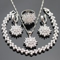 Silver Color Jewelry Sets Flower White CZ Drop Earrings Bracelets Set Necklace Pendant  Rings For Women Free Gift Box