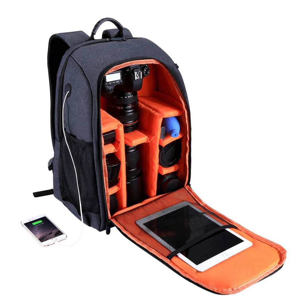 Top Deals PULUZ Multifunctional Waterproof Scratchproof Digital DSLR Camera Photo Video Shoulder SLR Camera Bag w/Rain Cover