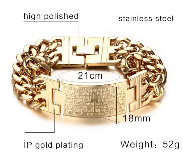 Image 3 - 2018 Punk Mens Cross Bracelet Bangle Jesus Christian High Quality Stainless Steel Gold Silver Color Big Male Wristband Jewelry-in Chain & Link Bracelets from Jewelry & Accessories on AliExpress