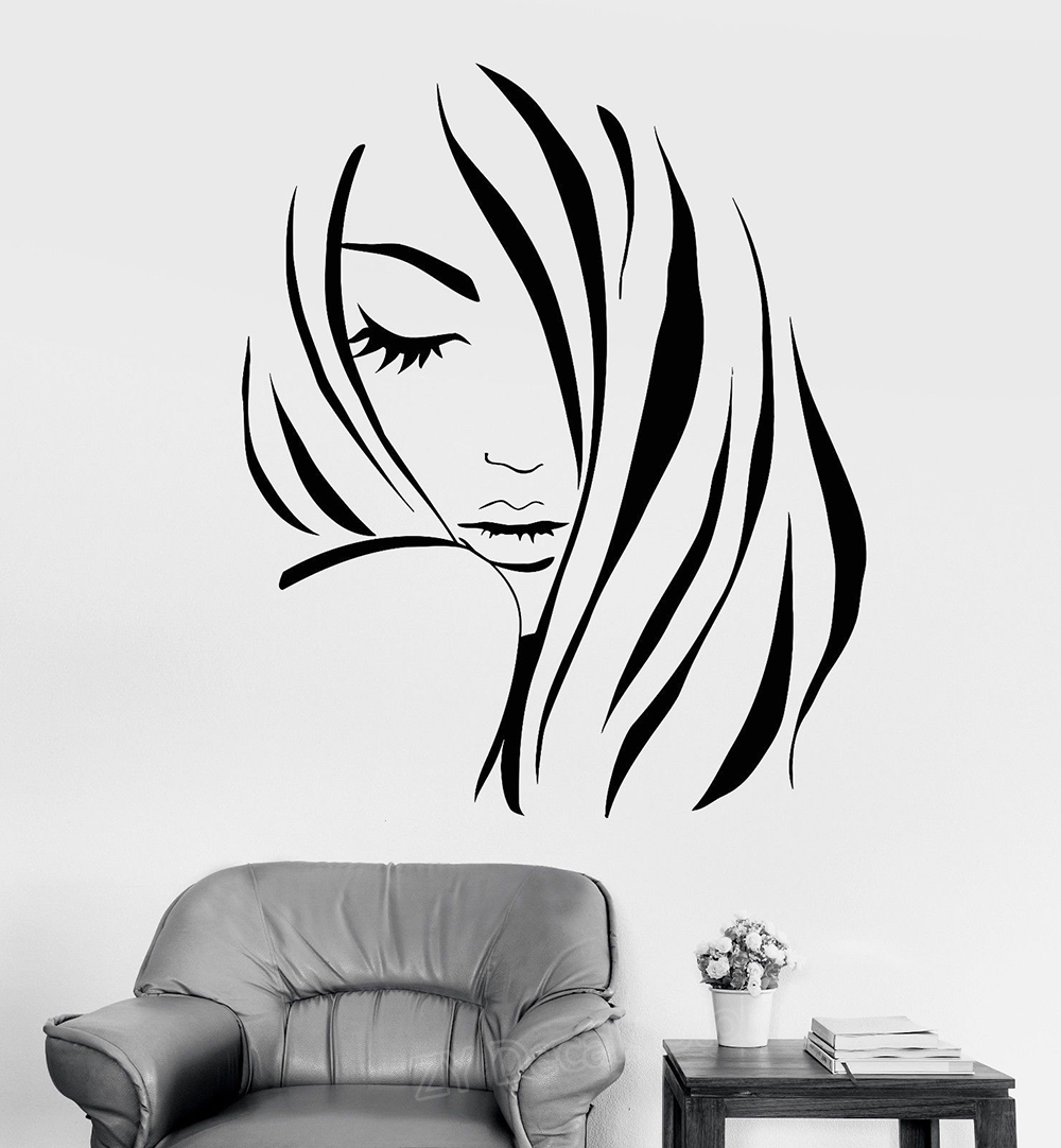 Fashion Girl Silhouette Wall Stickers Bedroom Home Decor