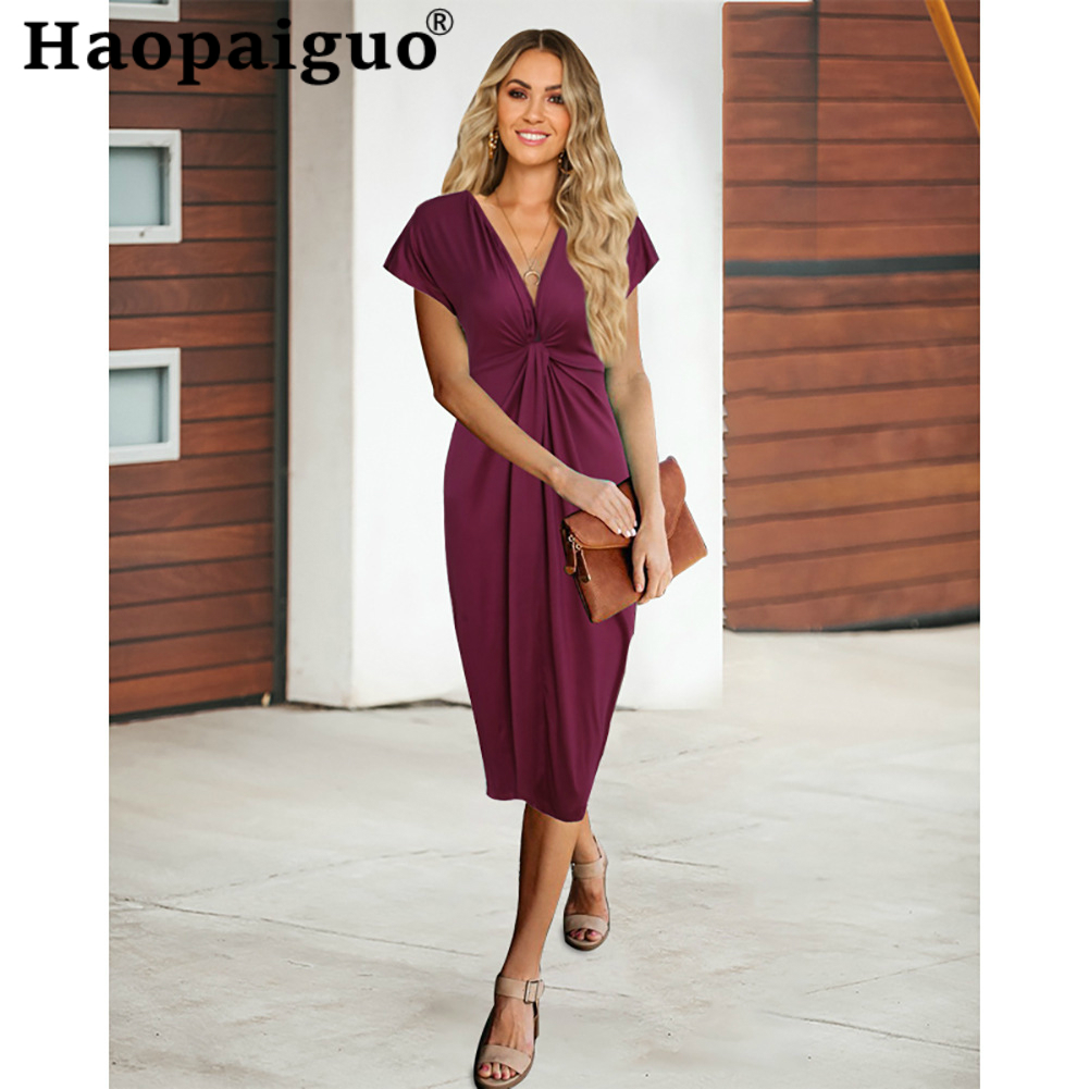 Empire Black OL Office Work Dress for Women Deep V-neck Short Sleeve sexy Dress Women Summer Dress 2019 Plus Size S-XXL Robe image