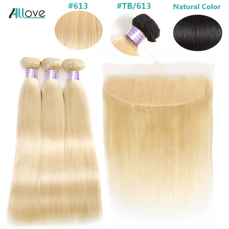 Allove 613 Blonde Bundles With Frontal Closure Blonde Peruvian Straight Hair With Closure Remy Human Hair With Frontal image