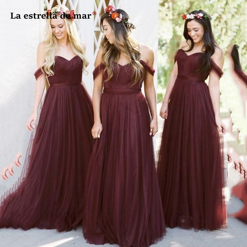 Robe demoiselle d'honneur pour femme new tulle sexy sweetheart short sleeve A Line burgundy   bridesmaid     dresses   long abito damige