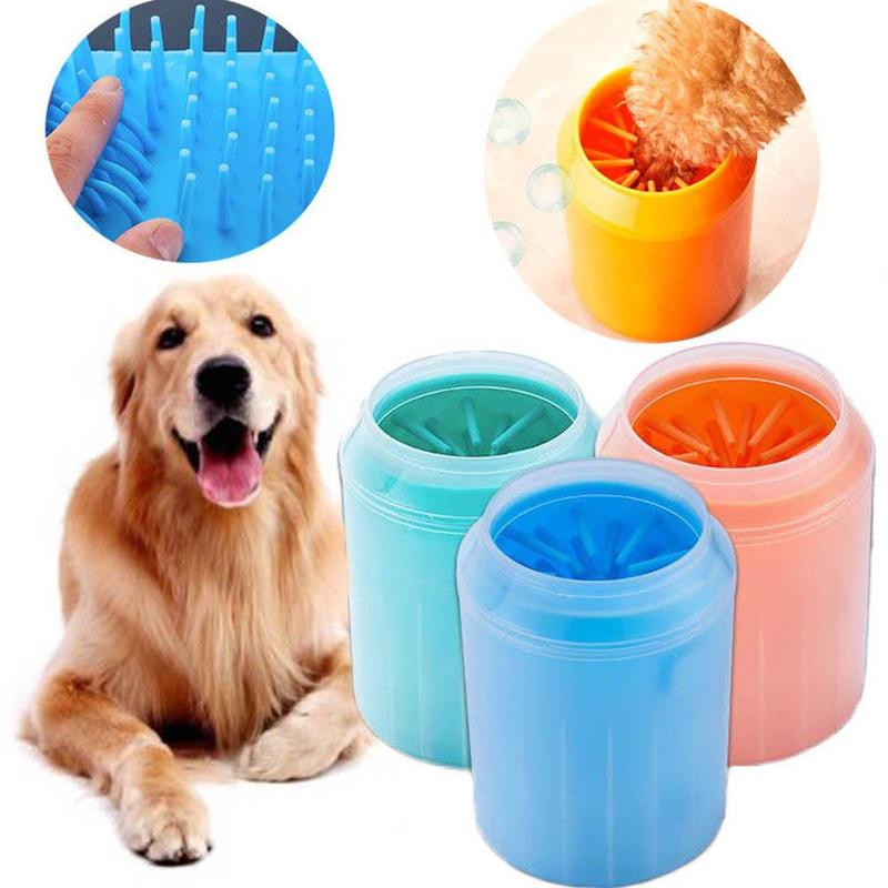 Dog Puppy Paw Cleaner Brush Soft Gentle Silicone Portable Pet Foot Washer Cup Paw Clean Brush Quickly Washer Cat Foot Cleaner