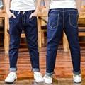Children Denim Trousers For Boy Jeans Elastic Waist Kids Pants Casual Brand Teenage Boy Costumes 4 6 8 10 12 Years