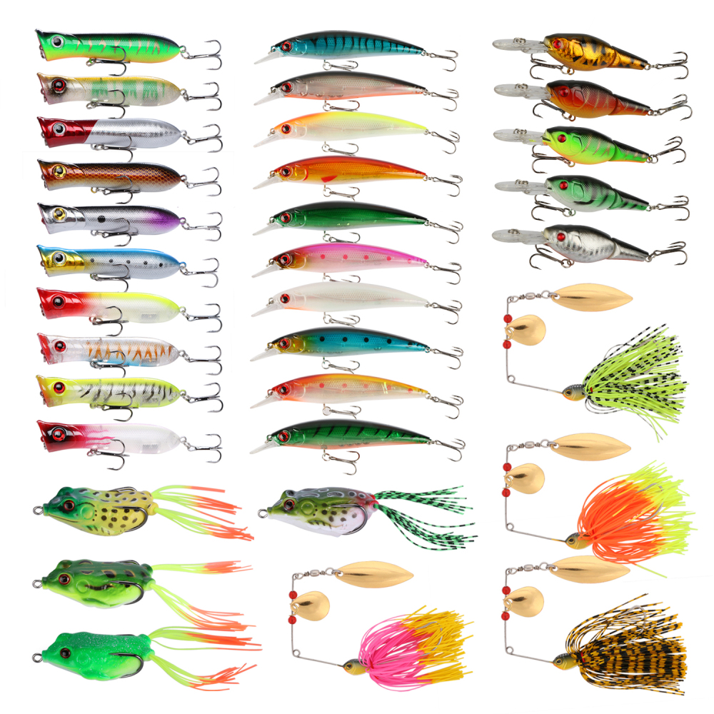 Goture 33pcs/31pcs Lure Kit Minnow/Popper/Crankbait/Spinner Bait/Frog Lure/Metal Spoon/Squid Soft Lure Fresh Water Fishing Lures goture 96pcs fishing lure kit minnow popper spinner jig heads offset worms hook swivels metal spoon with fishing tackle box