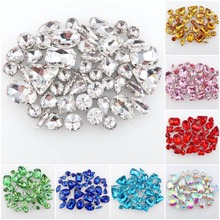 50pcs bag 11 shapes mix 26 colors silver claw setting nice glass crystal sew  on baf295c6c1ef