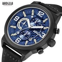 все цены на BAOGELA Men's Sports Chronograch Watches Black Leather Strap Analogue Quartz Wristwatch for Man Blue Dial Waterproof 1709-blue онлайн