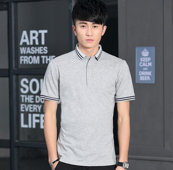 2018 New Summer Polo Running T Shirts Soft Cotton Short Sleeve Sport T shirts for Men Size M-5XL 4 Color Dropshipping