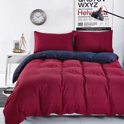 Bedding Sets Simple Wine Red Deep Purple Striped Bed Sheet Duver Quilt Cover Pillowcase Soft Comfortable King Queen Full Twin
