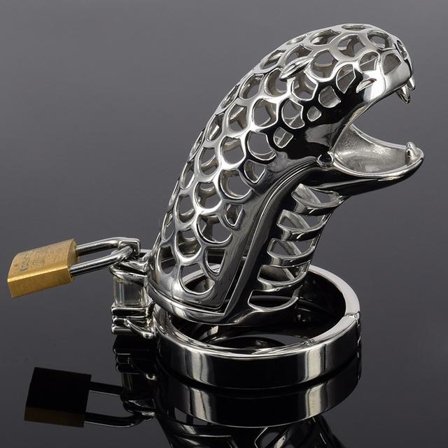 Male chastity device diseños nuevo acero inoxidable cinturón de castidad para hombres diseño de la serpiente de castidad jaula del martillo con extraíble anillo de espiga
