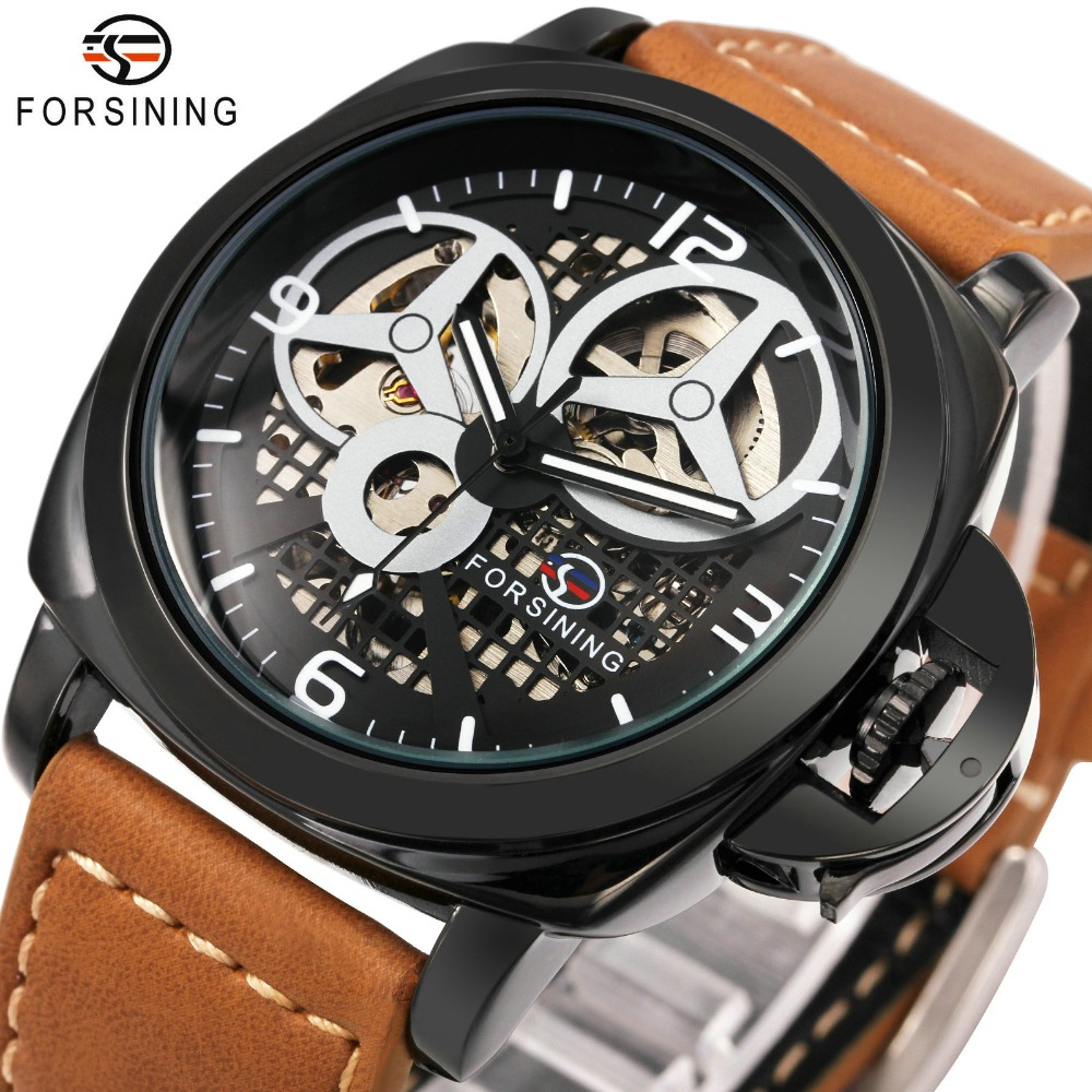 FORSINING New Black Skeleton herenhorloge Italy Antique Brown lederen band Auto skeleton militair mechanisch horloge