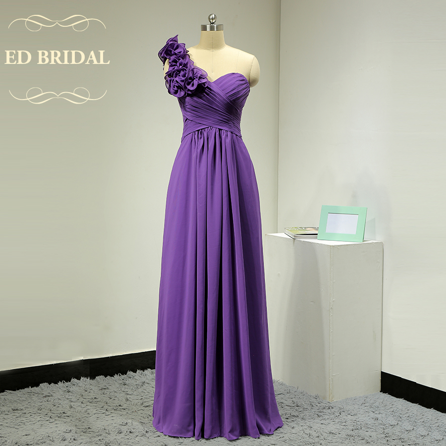Custom Made Ruffle One Shoulder Chiffon Purple Bridesmaid Dress Long ...
